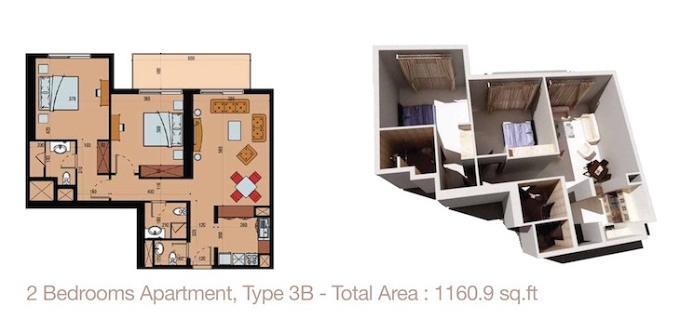 Planning of the apartment 2BR, 1160.9 in Sherena Residence, Dubai