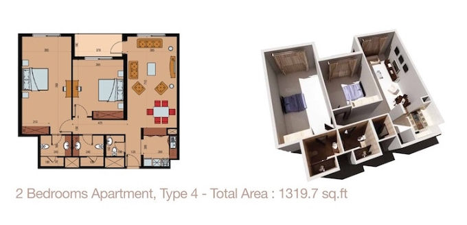 Planning of the apartment 2BR, 1319.7 in Sherena Residence, Dubai