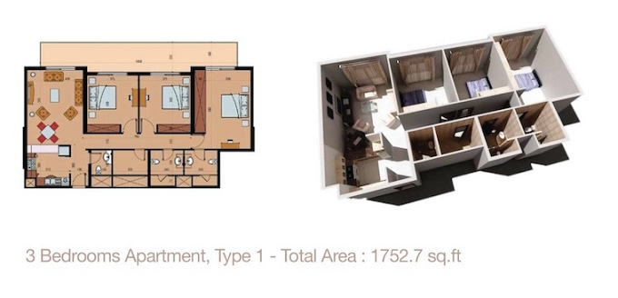 Planning of the apartment 3BR, 1752.7 in Sherena Residence, Dubai