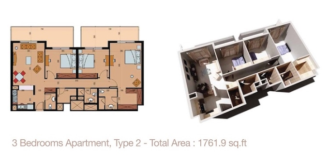 Planning of the apartment 3BR, 1761.9 in Sherena Residence, Dubai