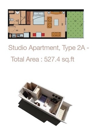 Planning of the apartment Studios, 527.4 in Sherena Residence, Dubai