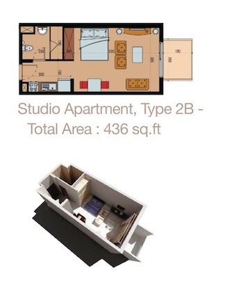 Planning of the apartment Studios, 436 in Sherena Residence, Dubai