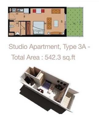 Planning of the apartment Studios, 542.3 in Sherena Residence, Dubai
