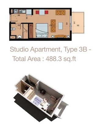 Planning of the apartment Studios, 488.3 in Sherena Residence, Dubai