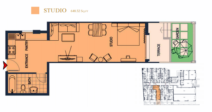 Planning of the apartment Studios, 648.52 in ACES Chateau, Dubai