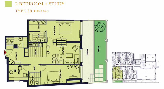 Planning of the apartment 2BR, 1485.85 in ACES Chateau, Dubai