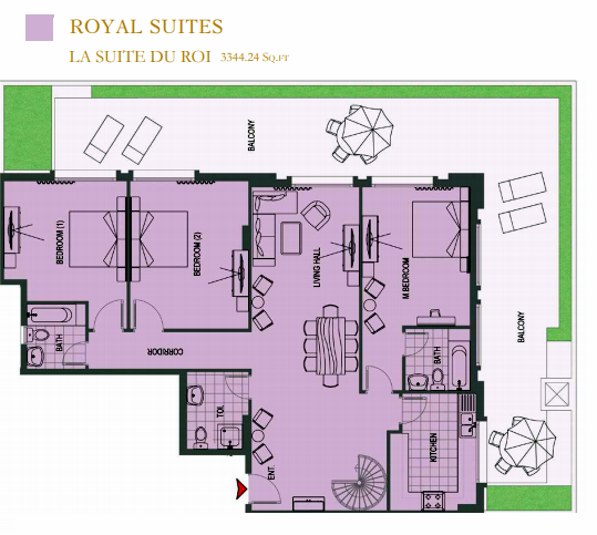 Planning of the apartment Duplexes, 3344.24 in ACES Chateau, Dubai