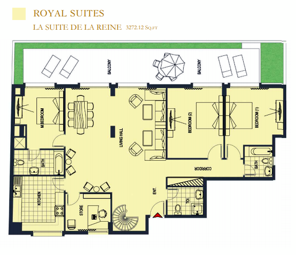 Planning of the apartment 4BR, 3272.12 in ACES Chateau, Dubai
