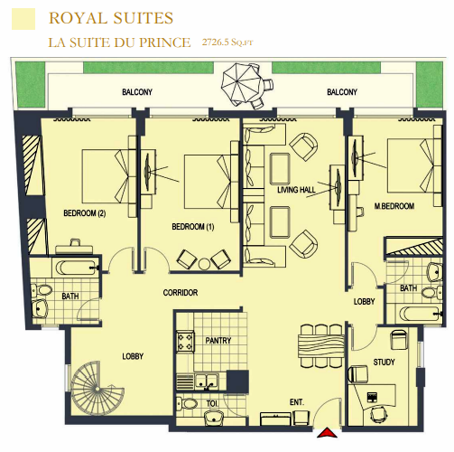 Planning of the apartment 3BR, 2726.5 in ACES Chateau, Dubai