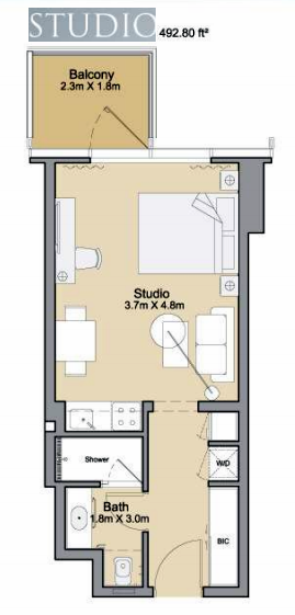 Planning of the apartment Studios, 492.8 in Sparkle Towers, Dubai
