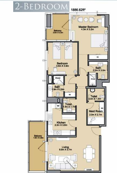 Planning of the apartment 2BR, 1886.62 in Sparkle Towers, Dubai