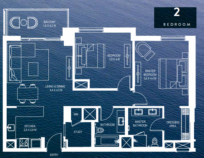 Planning of the apartment 2BR, 1225 in Water's Edge, Abu Dhabi