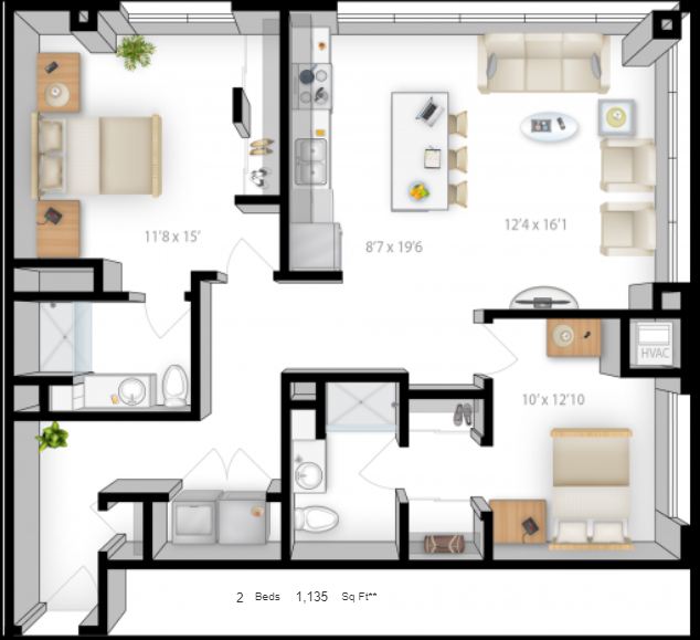 Planning of the apartment 2BR, 1135 in The Bridges Apartments, Abu Dhabi