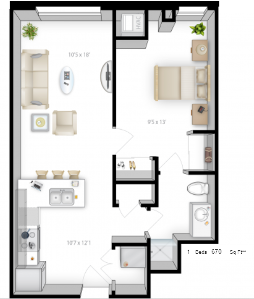 Planning of the apartment 1BR, 670 in The Bridges Apartments, Abu Dhabi