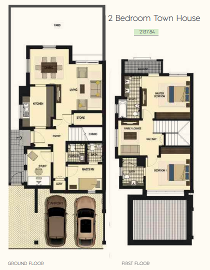 Planning of the apartment Townhouses 2BR, 2137.84 in Saadiyat Lagoons District Townhouses, Abu Dhabi