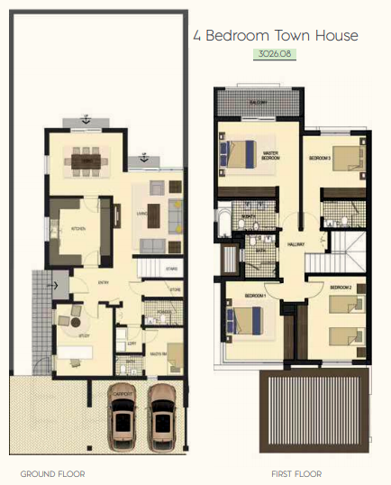 Planning of the apartment 4BR, 3026.08 in Saadiyat Lagoons District Townhouses, Abu Dhabi