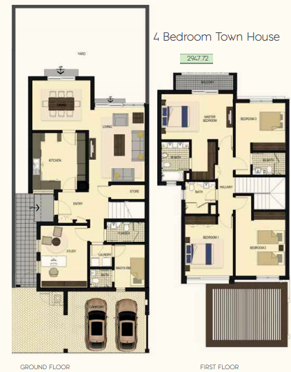Planning of the apartment Townhouses 4BR, 2947.72 in Saadiyat Lagoons District Townhouses, Abu Dhabi