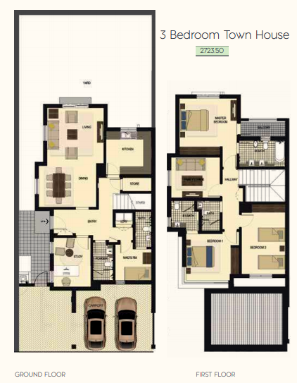Planning of the apartment Townhouses 3BR, 2725.5 in Saadiyat Lagoons District Townhouses, Abu Dhabi