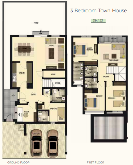 Planning of the apartment Townhouses 3BR, 2544.93 in Saadiyat Lagoons District Townhouses, Abu Dhabi