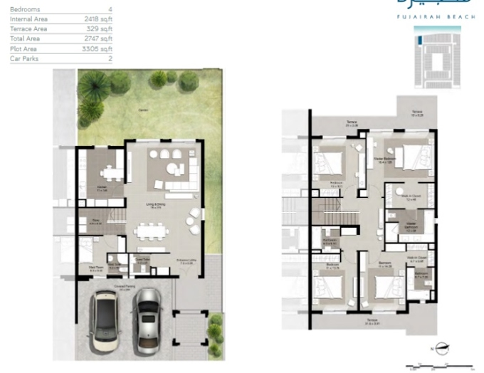 Planning of the apartment Townhouses 4BR, 2747 in Fujairah Beach, Fujairah