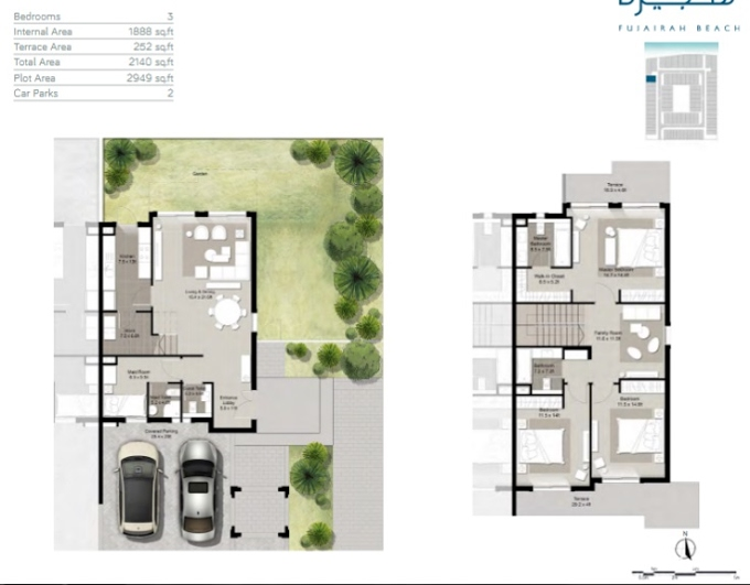 Planning of the apartment Townhouses 3BR, 2140 in Fujairah Beach, Fujairah