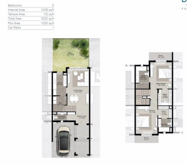 Planning of the apartment Townhouses 2BR, 1520 in Fujairah Beach, Fujairah