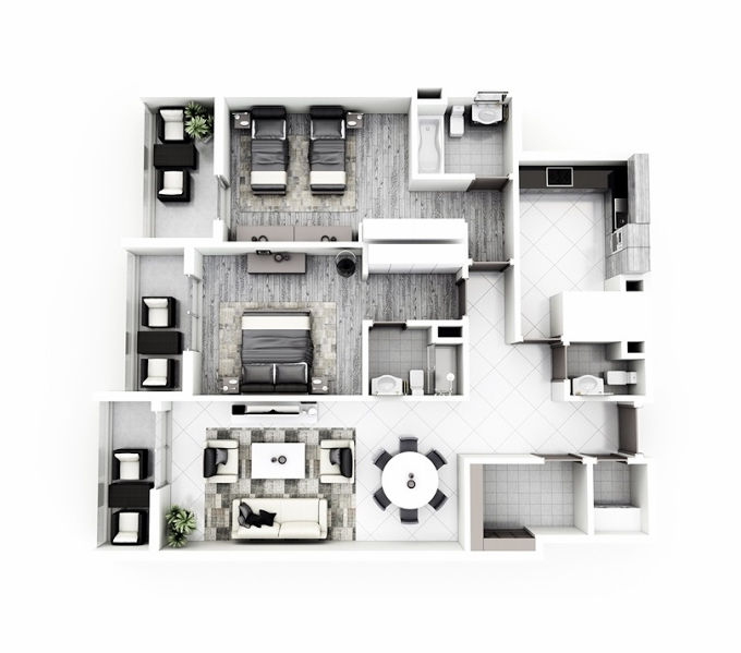 Planning of the apartment 2BR, 135.6 in Janayen Avenue, Dubai
