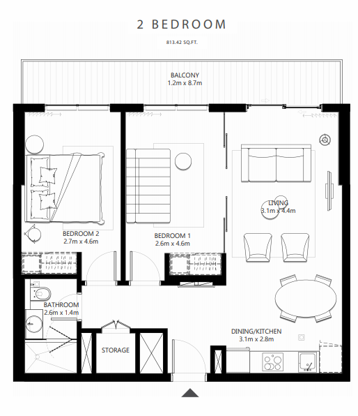 Planning of the apartment 2BR, 813.42 in Collective at Dubai Hills Estate, Dubai