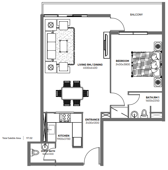 Planning of the apartment 1BR, 1044 in Blue Bay Ajmal Makan, Sharjah