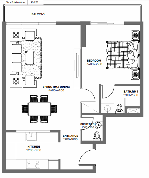Planning of the apartment 1BR, 968 in Blue Bay Ajmal Makan, Sharjah
