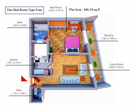 Planning of the apartment 1BR, 846.1 in Smart Tower 1, Ajman