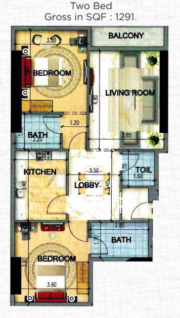 Planning of the apartment 2BR, 1291 in Art Tower Apartments, Sharjah