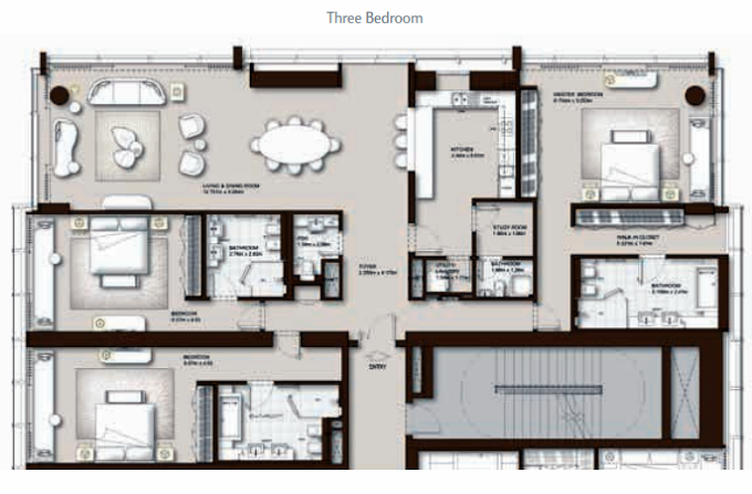 Planning of the apartment 3BR, 3021 in The Palm Tower, Dubai
