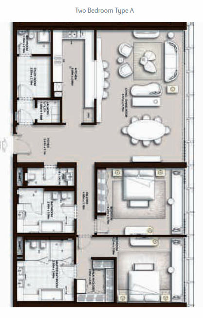 Planning of the apartment 2BR, 2142 in The Palm Tower, Dubai