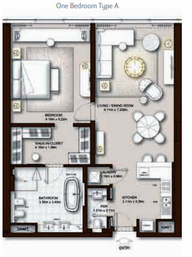 Planning of the apartment 1BR, 1020 in The Palm Tower, Dubai