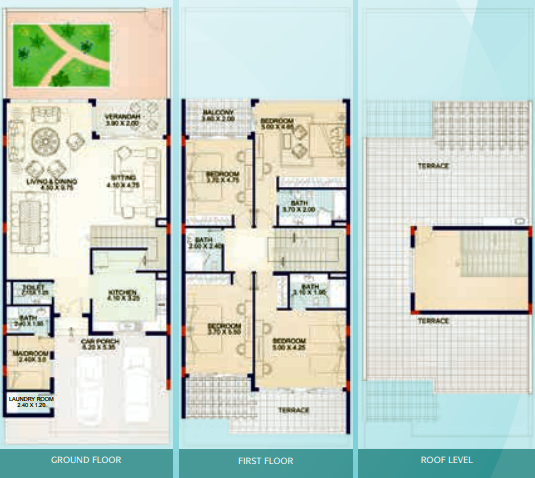 Planning of the apartment Townhouses, 2288 in Jumeirah Island Townhouses, Dubai