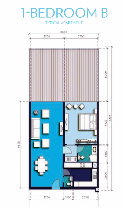 Planning of the apartment 1BR, 1399 in Azure Residences, Dubai