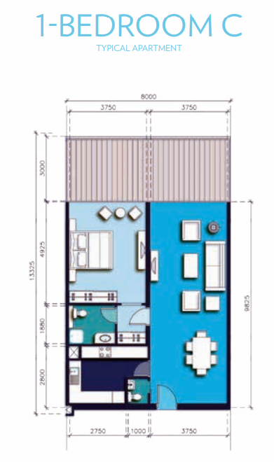 Planning of the apartment 1BR, 1130 in Azure Residences, Dubai