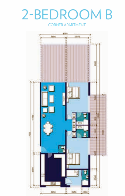 Planning of the apartment 2BR, 2389 in Azure Residences, Dubai