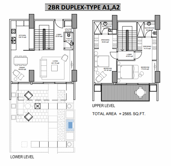 Planning of the apartment Duplexes, 2565 in Hameni Homes by Zaya, Dubai