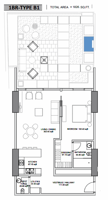 Planning of the apartment 1BR, 1826 in Hameni Homes by Zaya, Dubai