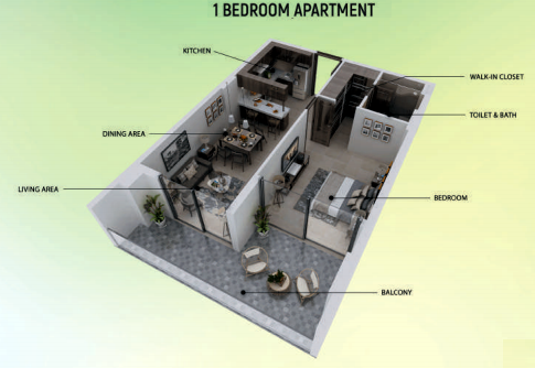 Planning of the apartment 1BR, 812 in Samana Greens, Dubai