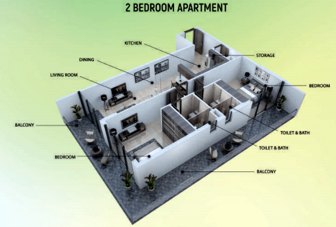 Planning of the apartment 2BR, 1015 in Samana Greens, Dubai