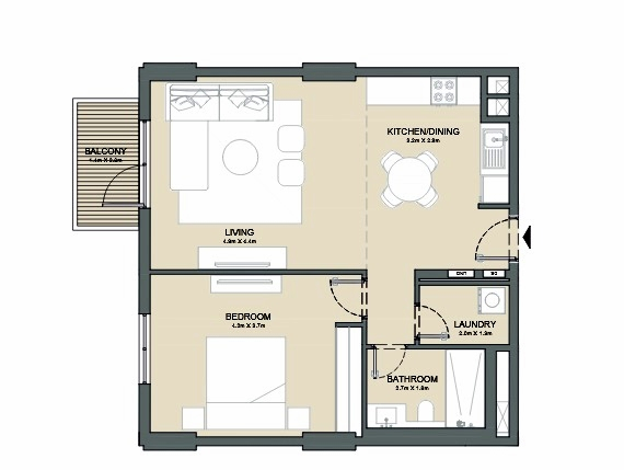 Planning of the apartment 1BR, 790 in Port de La Mer, Dubai