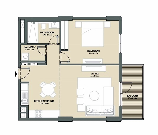 Planning of the apartment 1BR, 832 in Port de La Mer, Dubai