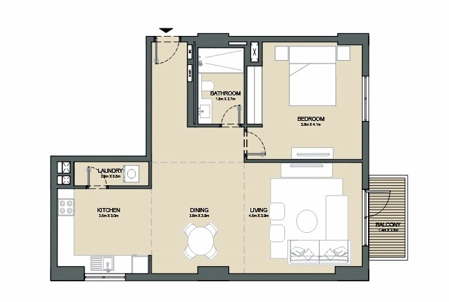 Planning of the apartment 1BR, 962 in Port de La Mer, Dubai