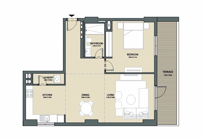 Planning of the apartment 1BR, 1097 in Port de La Mer, Dubai