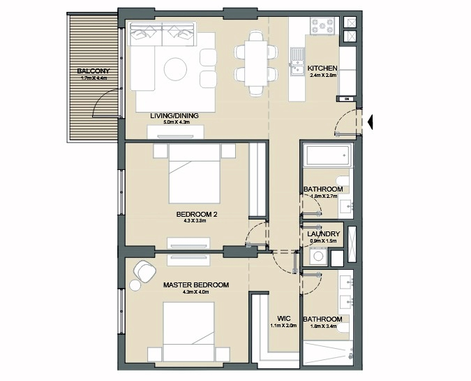 Planning of the apartment 2BR, 1217 in Port de La Mer, Dubai