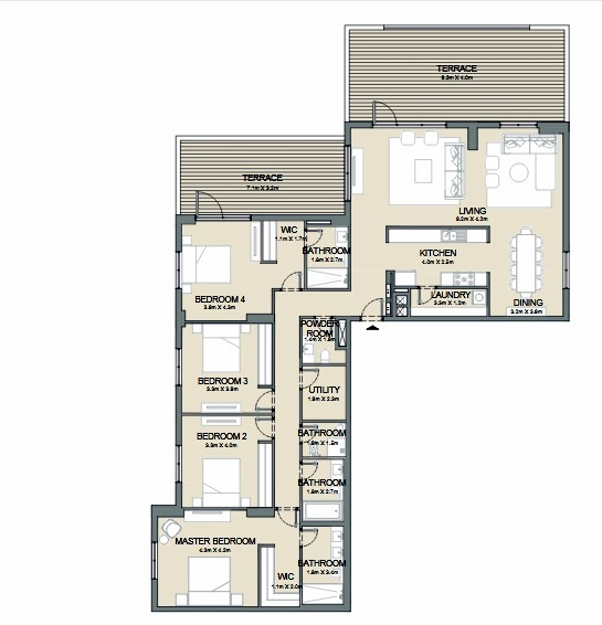 Planning of the apartment 4BR, 2941 in Port de La Mer, Dubai