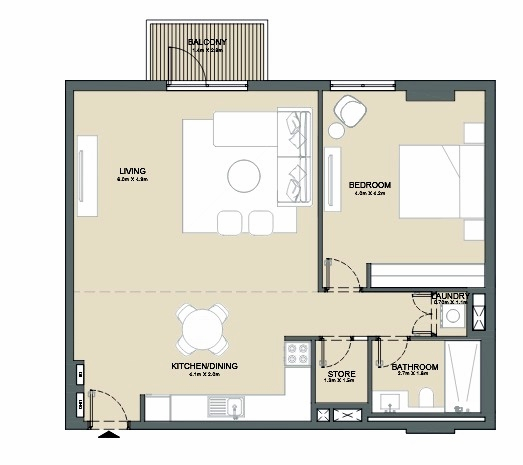 Planning of the apartment 1BR, 977 in Port de La Mer, Dubai